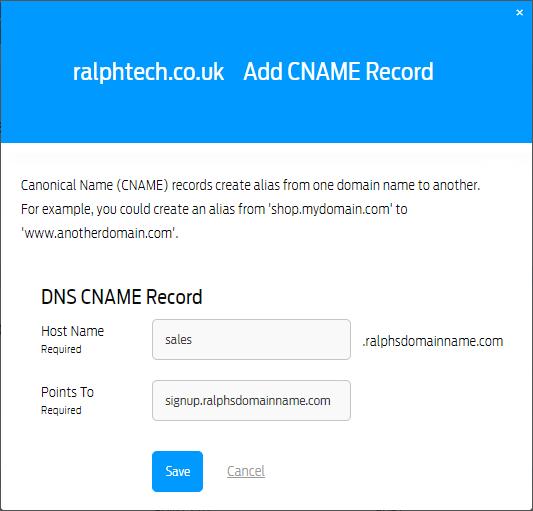 DNS CNAME records