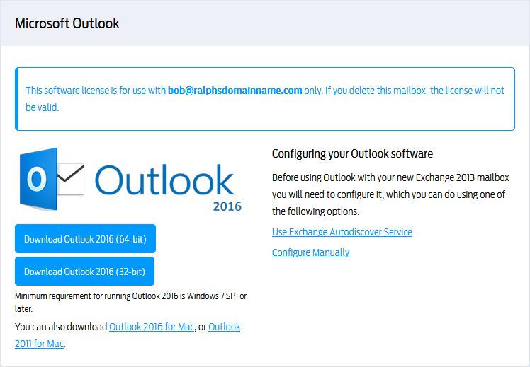 Download and install Outlook for your Exchange 2013 mailbox