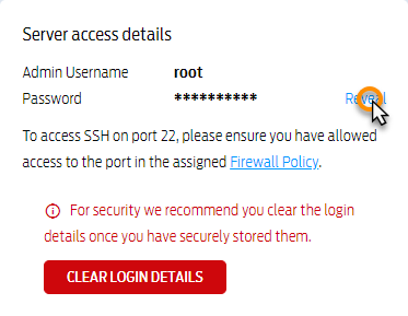 Finding your server access details