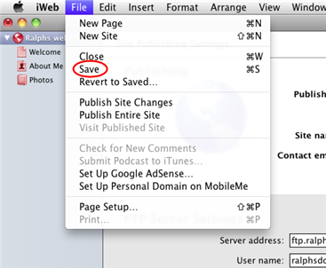 Uploading your website with iWeb