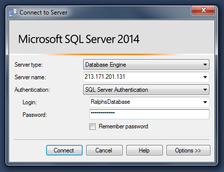 Connecting to a MSSQL database with SQL Server Management