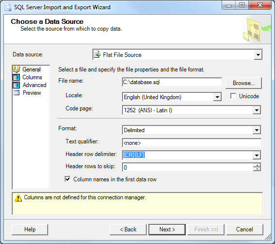 Importing a MSSQL database with SQL Server Management Studio