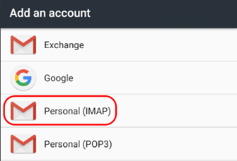 Setting up a mailbox on an Android device