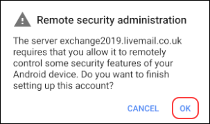Setting up an Exchange 2019 mailbox on an Android device