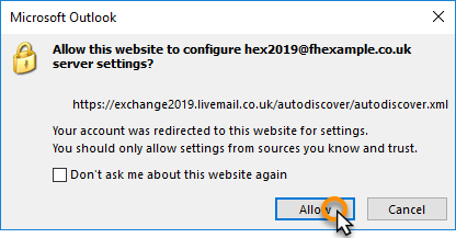 Outlook 2019 setup for Exchange 2019 mailboxes