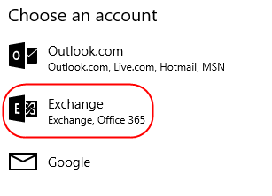 Windows 10 Mail setup for Exchange 2013 mailboxes
