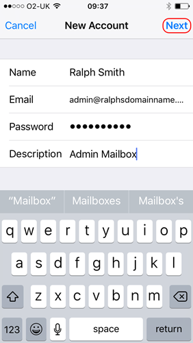 Name, Email, Password, and Description