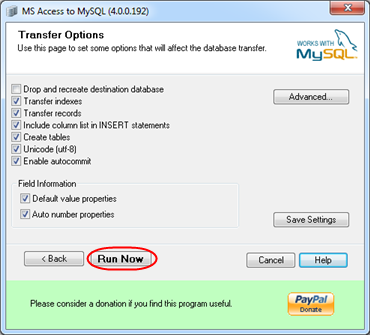 Transferring an MS Access database to MySQL