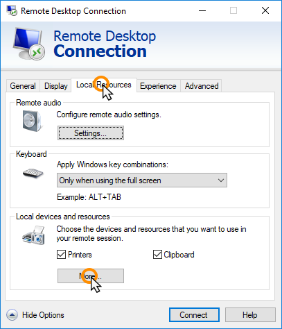 Connect to your server using Remote Desktop