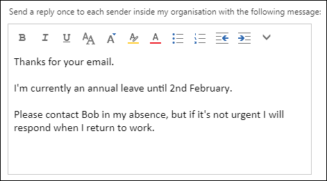 Setting an autoresponder for Exchange 2019 mailboxes